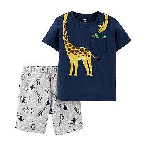 Conjunto de Short de Animal e Camiseta de Girafa de 2 Peças Carter's