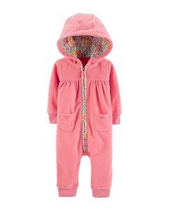 Macacão em fleece rosa detalhe floral - Carter's