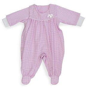 Macacão Tricoline rosa xadrez - Keko Baby