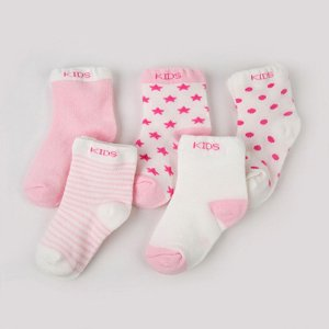 Kit 5 pares de meias kids rosa