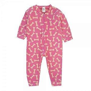 Macacão Infantil soft ossinhos rosa - S. Corujas