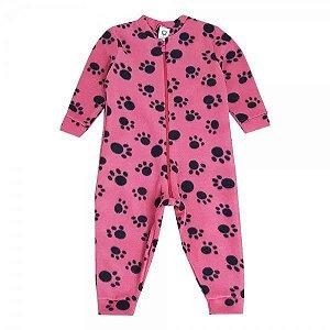 Macacão Infantil soft patinhas rosa - S. Corujas