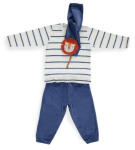 Conjunto azul e branco com cachecol Leão - Keko Baby