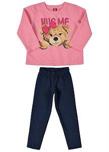 Conjunto moletom blusão rosa e calça - Bee Loop