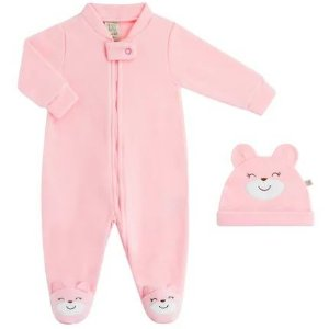Macacão com touca soft rosa - Pingo Lelê