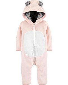 Macacão em fleece rosa co capuz - Carter's