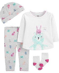 Conjunto 4 peças - pijama bichinhos - Carter's