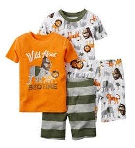 Conjunto 4 peças - pijama curto safari - Carter's