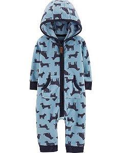 Macacão em fleece azul Cachorrinhos - CARTERS
