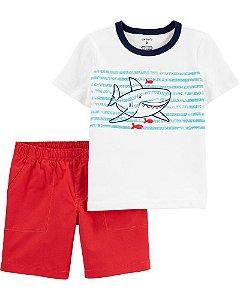 Conjunto 2 peças shorts e blusa tubarão - Carter's