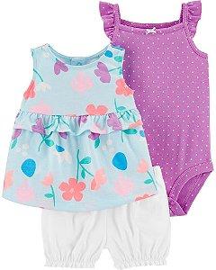 Conjunto 3 peças shorts body e bata floral - Carter's