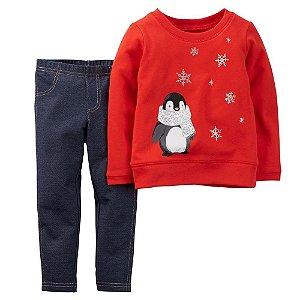 Conjunto 2 peças pinguim com calça imitando jeans - CARTERS