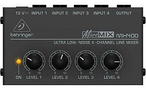 MIXER MESA COMPACTO SOM 4 CANAIS BEHRINGER MICROMIX MX400