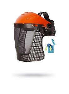 Kit Roçador: Malha Plástica + Suporte + Protetor Auricular Plug
