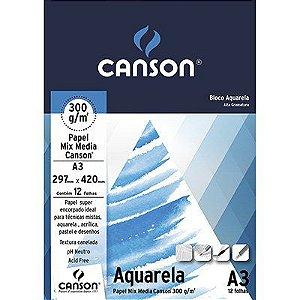 Bloco Canson Aquarela A3 300g/m² -  12 Folhas
