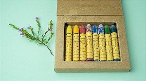 Giz de cera bastão Apiscor - caixa com 8 cores básicas