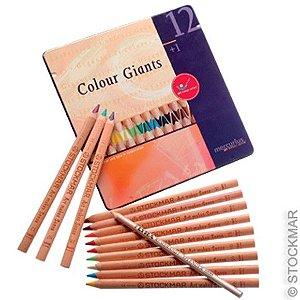 Lápis grosso Lyra Colour Giant - lata com 12 cores