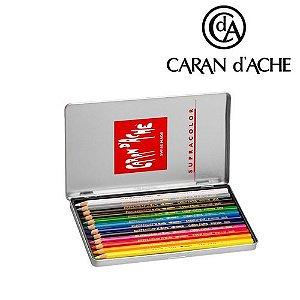 Lápis fino Carandache Supracolor - lata com 12 cores