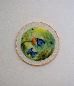 Quadro Borboleta Azul - 100% lã