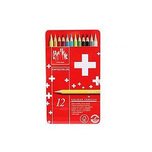 Lápis aquarelável Caran d'Ache Swisscolor - 12 cores