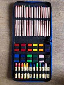 Estojo completo com lápis grossos e gizes Stockmar