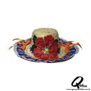 Chapéu de Palha com Tecido Colorido Festa Junina Feminino- Laço Laranja