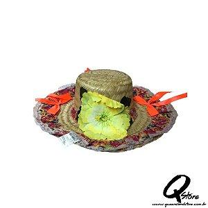 Chapéu de Palha com Tecido Colorido Festa Junina Feminino- Laço Laranja Neon