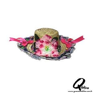 Chapéu de Palha com Tecido Colorido Festa Junina Feminino- Laço Rosa