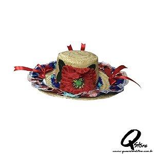 Chapéu de Palha com Tecido Colorido Festa Junina Feminino- Laço Vermelho