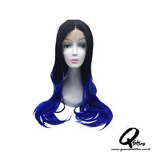 Peruca Lace Front Top Hair-Longa  Cor Preto/Azul#