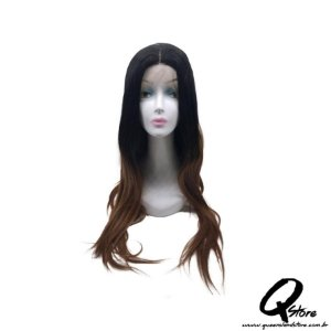 Peruca Lace Front Top Hair-Longa  Cor Preto/Chocolate#