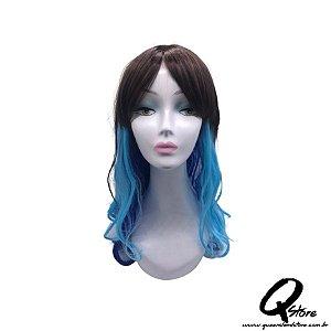Peruca Sintética Modelo Longa Ondulada - Cor Marrom/Azul