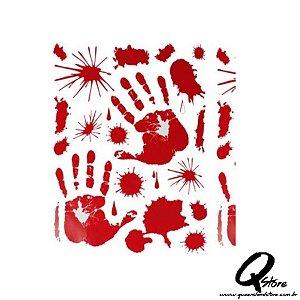 Cartela de adesivo Sangue para Porta -Halloween