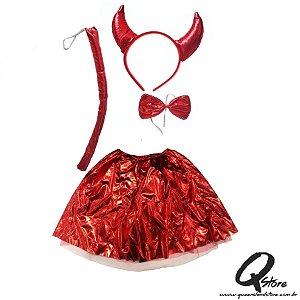 Kit Halloween Diaba Vermelho - Tamanho Único