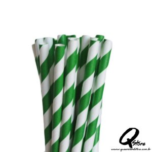 Canudos de Papel Listrado Verde c/ 20 unid