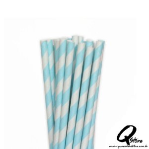 Canudos de Papel Listrado Azul Claro c/ 20 unid