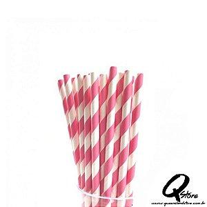 Canudos de Papel Listrado Pink c/ 20 unid