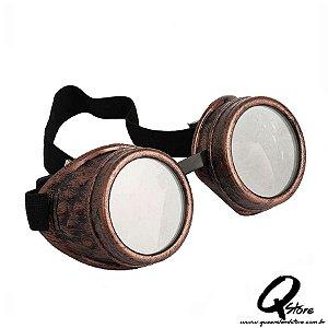 Óculos Steampunk Retrô Aviador Vintage Bronze