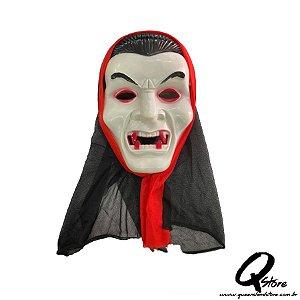 Máscara Drácula c/ Capuz Halloween- Plástico