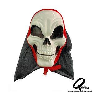 Máscara Caveira c/ Capuz Halloween- Plástico