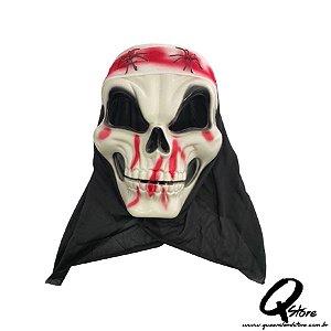 Máscara Caveira Aranha c/ Capuz Halloween- Plástico