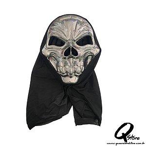 Máscara Caveira Prata c/ Capuz Halloween- Plástico