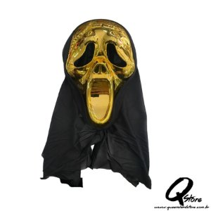 Máscara Pânico Dourada c/ Capuz Halloween- Plástico
