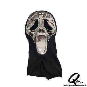 Máscara Pânico Prata c/ Capuz Halloween- Plástico