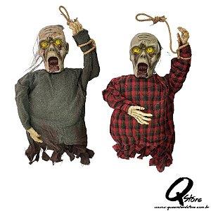 Monstro Zumbi Pendurado com Luz e Som Para o Halloween 65cm x 30cm -1 Unidade
