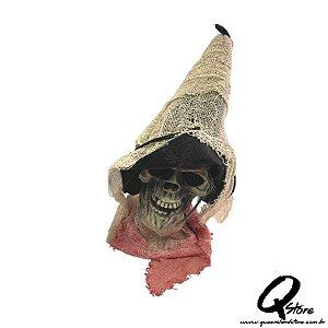 Monstro Cabeça de Bruxa com Luz e Som Para o Halloween 32cm x 12cm -1 Unidade