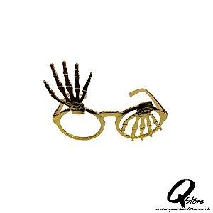 Óculos  Mão de Caveira s/ Lente Dourado- Plástico