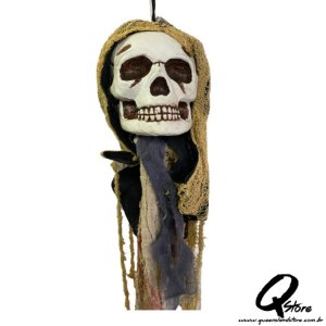 Enfeite Cabeça Caveira Farrapos Decoração Halloween