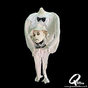 Boneco Halloween Fantasma Branco Decapitado   - 1 Unidade