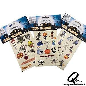 Cartelas de Tatuagem Temporária Infantil Halloween Sortidos - Colormake